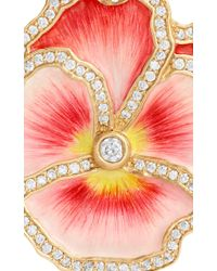 Alison Lou - Pansy Pink Enamel And Diamond Earrings - Lyst