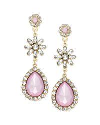 American Rag - Goldtone Pink Stone Teardrop Earrings - Lyst