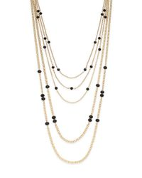 Saks Fifth Avenue | Metallic Multi-strand Beaded Chain Necklace | Lyst