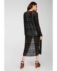 Forever 21 - Black Geo-patterned Lace Kimono - Lyst