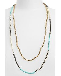 Panacea | Black Beaded Multistrand Necklace | Lyst