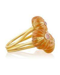 Munnu Metallic 22karat Gold Citrine Flower Ring