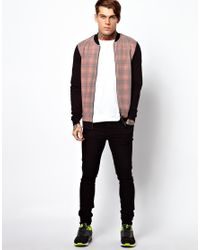 ASOS - Black Bomber with Check Front Panel for Men - Lyst