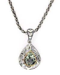 Lord & Taylor | Balissima Sterling Silver 18k Yellow Gold And Green Amethyst Pendant Necklace | Lyst