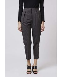 TOPSHOP - Gray Pinstripe Peg Trousers - Lyst