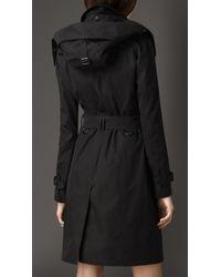 Burberry Black Long Gabardine Hooded Trench Coat with Warmer