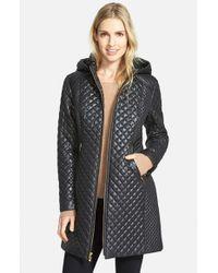 Via Spiga Black Hooded Front Zip Quilted Coat