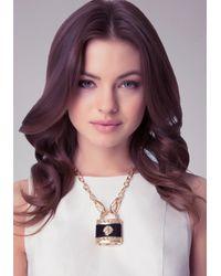 Bebe Black Lion Padlock Necklace