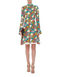 Marni - Multicolor Long Sleeved Floral Printed Georgette Dress - Lyst