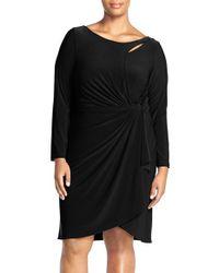 Adrianna Papell | Black Keyhole Drape Jersey Dress | Lyst