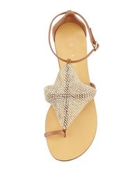 Lola Cruz - Brown Crystal-mesh Toe-ring Flat Sandal - Lyst