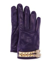 Valentino - Purple Rockstud Napa Leather Gloves - Lyst