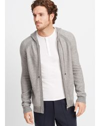 Vince Gray Plaited Cashmere Zip-up Hoodie for men