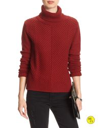 Banana Republic | Red Factory Hi-lo Turtleneck Sweater | Lyst