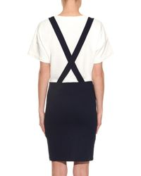 Band of Outsiders Blue Trompe-l'oeil Suspender Cotton Dress