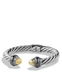 David Yurman - Metallic Cable Classics Bracelet With Gold Domes & Hematine - Lyst