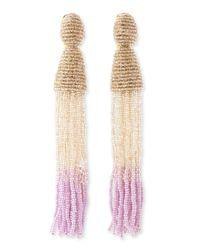 Oscar de la Renta | Multicolor Long Ombrebeaded Tassel Earrings Almondcreamlilac | Lyst