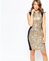 French Connection | Metallic Lunar Sparkle Bodycon Dress | Lyst