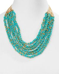 Aqua | Blue Wonda Multi Row Braided Statement Necklace, 18"