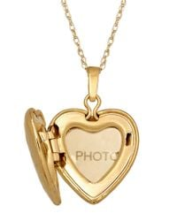 Lord & Taylor - Metallic 14 Kt. Gold Diamond Heart Locket Necklace - Lyst