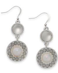 Style & Co. | Metallic Style&co. Silver-tone White Bubble Drop Earrings | Lyst