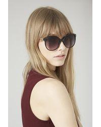 TOPSHOP - Black Lucie Preppy Round Sunglasses - Lyst