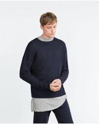 Zara | Blue Oversize Soft Melange Sweater for Men | Lyst