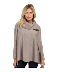 Calvin Klein | Gray Sweater Cape W/ Buckle | Lyst