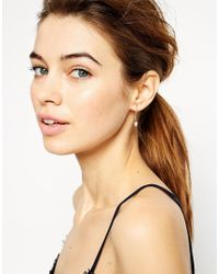 ASOS - Pink Rose Gold Plated Sterling Silver Triangle Drop Earrings - Lyst