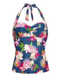 Figleaves Blue Luana Underwired Halter Neck Tankini Floral Top D-h Cup