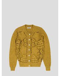 BATSHEVA Yellow Mustard Crochet Cardigan