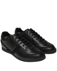 BOSS Black Glaze Leather Trainers for men