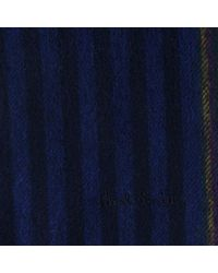 Paul Smith Blue Cashmere Striped Scarf for men