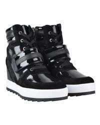 Armani Jeans Black Wedge High Top Trainers