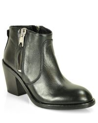 275 Central | Black Leather Zip Bootie | Lyst