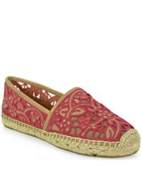 Tory Burch - Natural Lace and Leather Espadrilles - Lyst