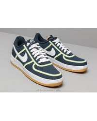 half off 0ba15 8d51b Nike Air Force 1  07 Premium Armory Navy  White-barely Volt in Blue ...