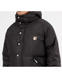 Hooded Fox Head Down Jacket Black di Maison Kitsuné da Uomo
