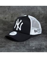81662221 Lyst - KTZ Cap Clean Trucker New York Yankees Cap Black/ White for Men