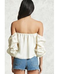 Forever 21 - Multicolor Ruched Off-the-shoulder Top - Lyst