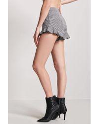 Forever 21 Black Houndstooth Ruffle Shorts