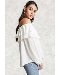 Forever 21 - White Off-the-shoulder Flounce Top - Lyst