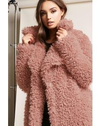 Forever 21 - Purple Boucle Knit Button-front Coat - Lyst
