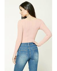 Forever 21 - Purple Ribbed Knit V-neck Bodysuit - Lyst