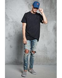 Forever 21 - Black Distressed Raw-cut Pocket Tee for Men - Lyst