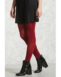 FOREVER21 - Red Opaque Stirrup Tights - Lyst