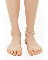 Forever 21 Multicolor Rhinestone Anklet Set , Silver/clear
