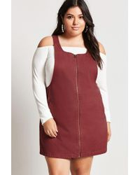 545a4f7c0597f Forever 21 Plus Size Denim Overall Dress in Red - Lyst
