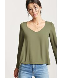 Forever 21 Green Boxy Scoop Neck Top