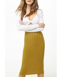 Forever 21 Multicolor Ribbed Midi Skirt , Citron